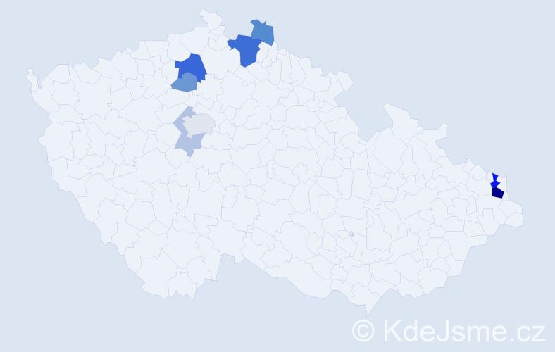 Příjmení: 'Ličák', počet výskytů 23 v celé ČR