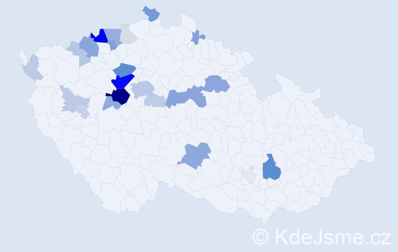Příjmení: 'Juppová', počet výskytů 80 v celé ČR