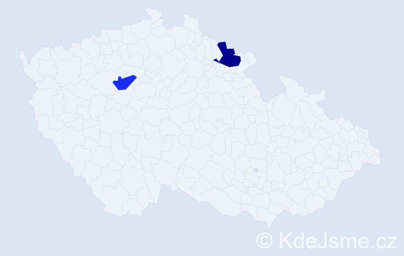 Příjmení: 'Burcák', počet výskytů 2 v celé ČR