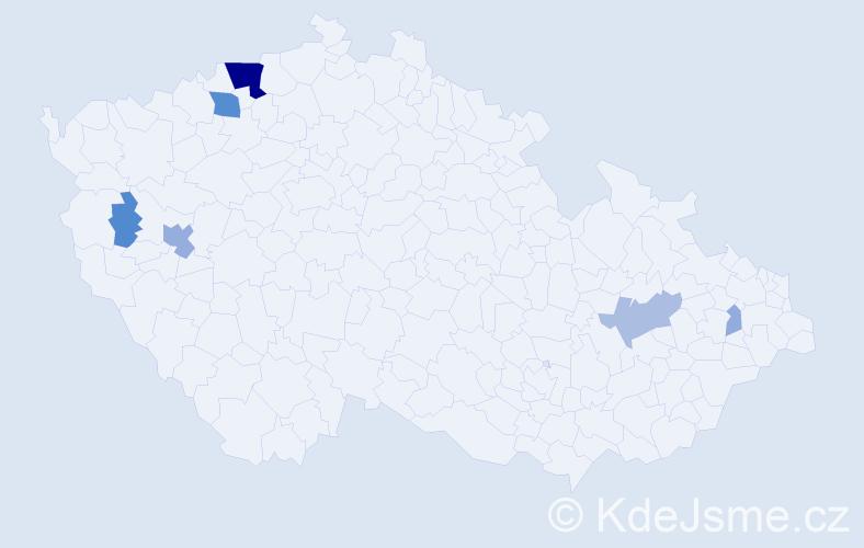 Příjmení: 'Lastovka', počet výskytů 22 v celé ČR