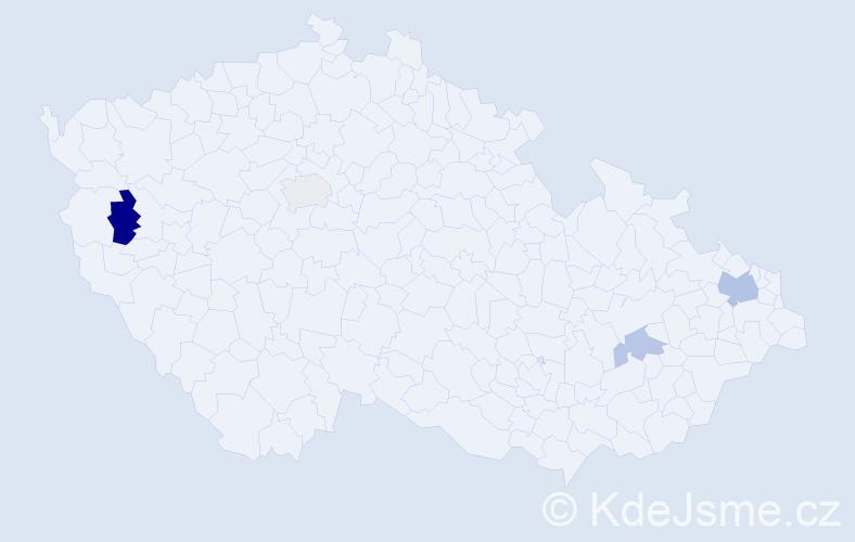 Příjmení: 'Čenščák', počet výskytů 7 v celé ČR