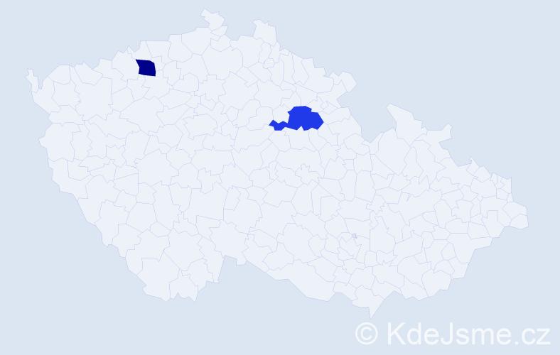 Příjmení: 'Červiková', počet výskytů 2 v celé ČR
