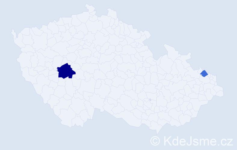 Příjmení: 'Liebnerová', počet výskytů 4 v celé ČR