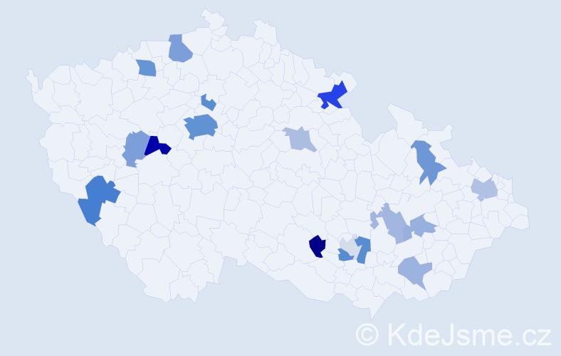 Příjmení: 'Collins', počet výskytů 44 v celé ČR
