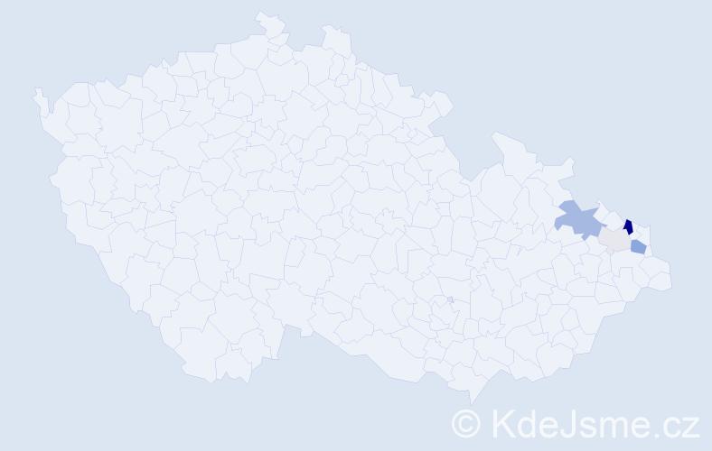 Příjmení: 'Bajdová', počet výskytů 15 v celé ČR