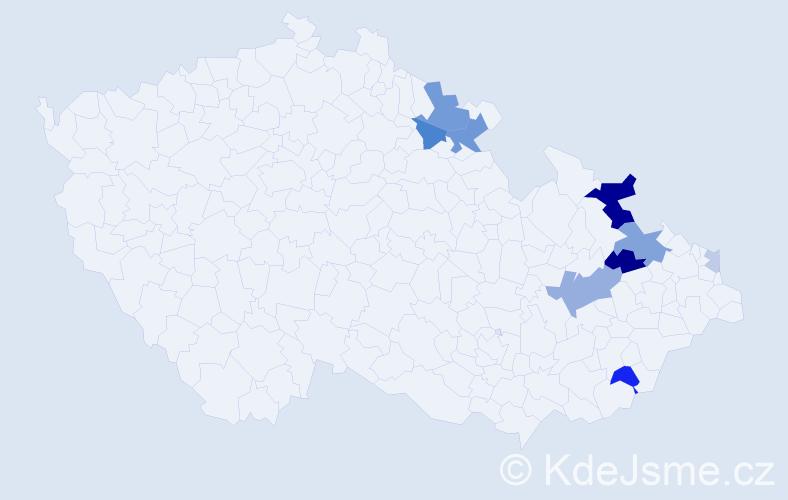Příjmení: 'Grčková', počet výskytů 25 v celé ČR