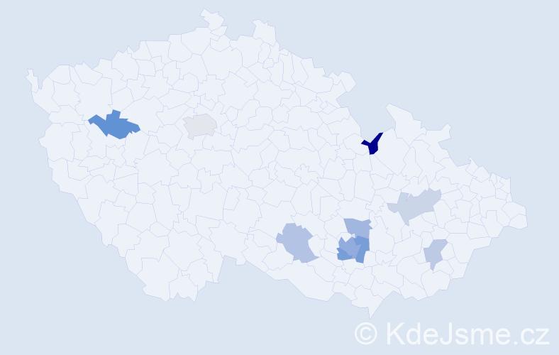 Příjmení: 'Jurza', počet výskytů 15 v celé ČR
