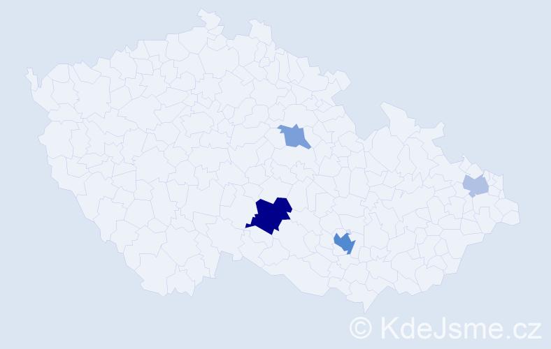 Příjmení: 'Hawerlandová', počet výskytů 9 v celé ČR