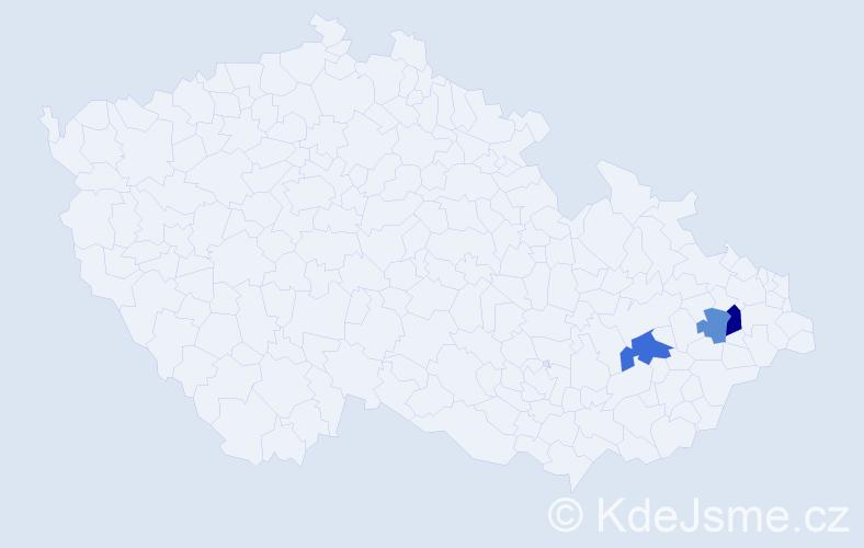 Příjmení: 'Iklová', počet výskytů 5 v celé ČR