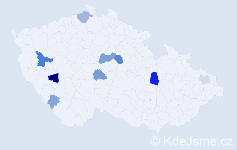 Příjmení: 'Grubr', počet výskytů 32 v celé ČR