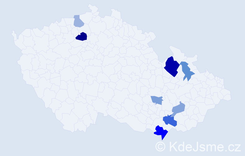 Příjmení: 'Crhounková', počet výskytů 15 v celé ČR