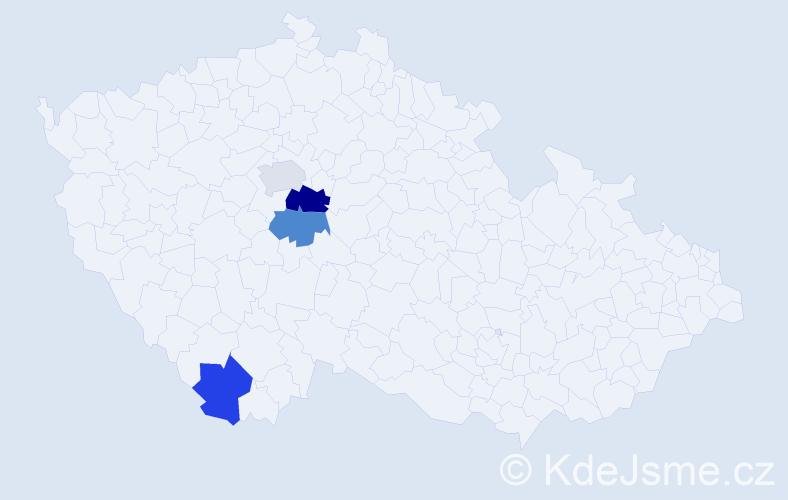 Příjmení: 'Dauth', počet výskytů 5 v celé ČR