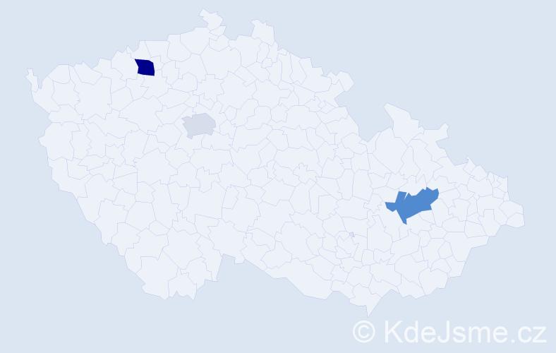 Příjmení: 'Číčel', počet výskytů 9 v celé ČR