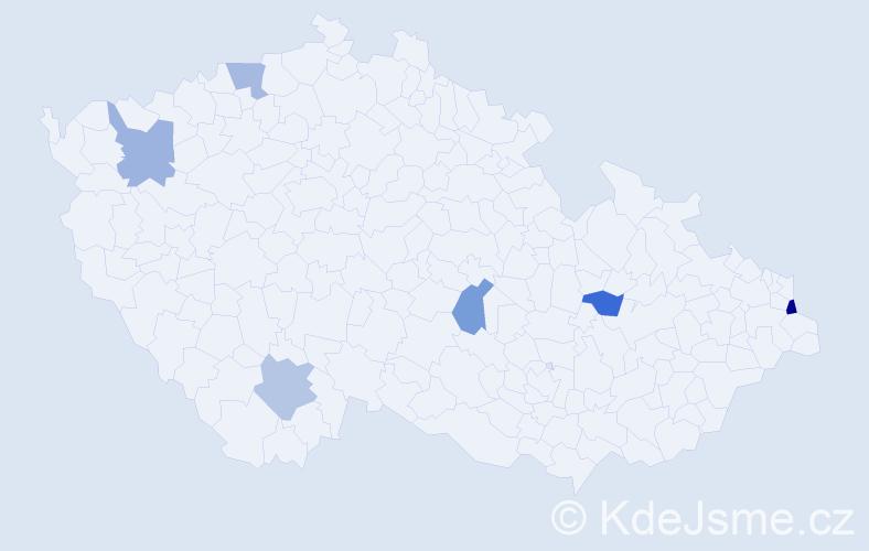 Příjmení: 'Gulašová', počet výskytů 7 v celé ČR