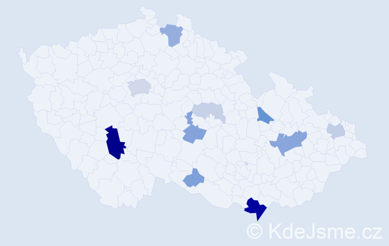 Příjmení: 'Čuka', počet výskytů 40 v celé ČR