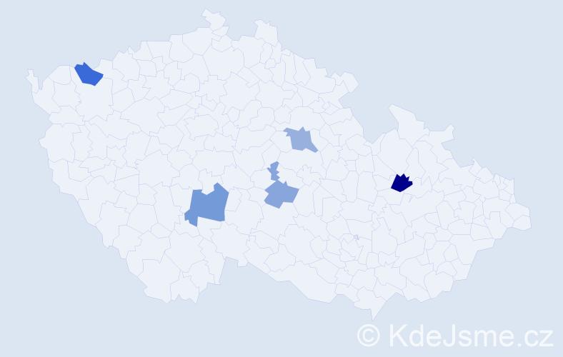 Příjmení: 'Gigalová', počet výskytů 16 v celé ČR