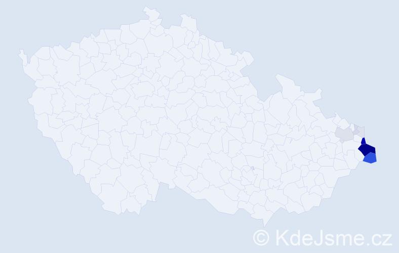 Příjmení: 'Huczalová', počet výskytů 39 v celé ČR