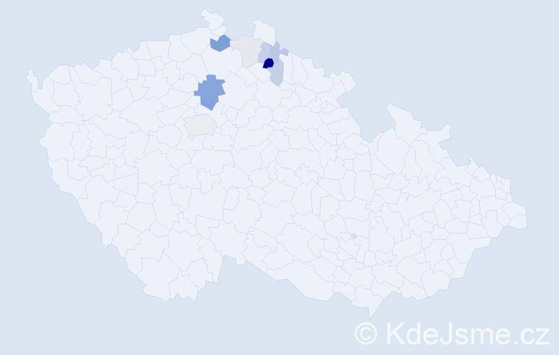 Příjmení: 'Čásárová', počet výskytů 23 v celé ČR