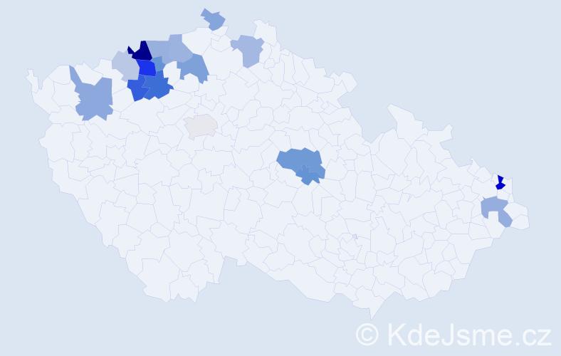 Příjmení: 'Dienelt', počet výskytů 42 v celé ČR