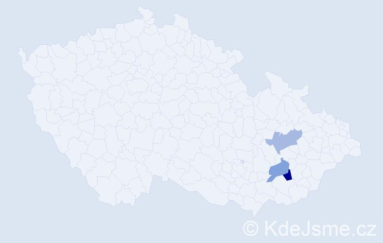 Příjmení: 'Hádalová', počet výskytů 4 v celé ČR