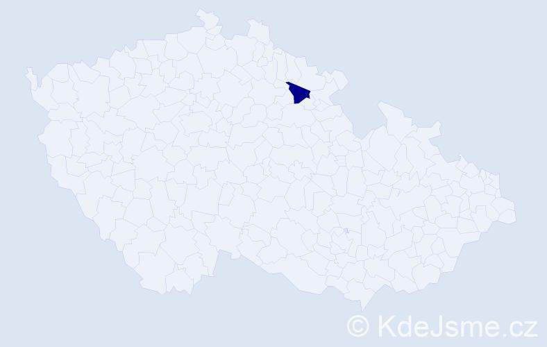 """Příjmení: '""""Kyprioti Beldová""""', počet výskytů 1 v celé ČR"""