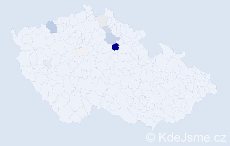 Příjmení: 'Drlý', počet výskytů 19 v celé ČR