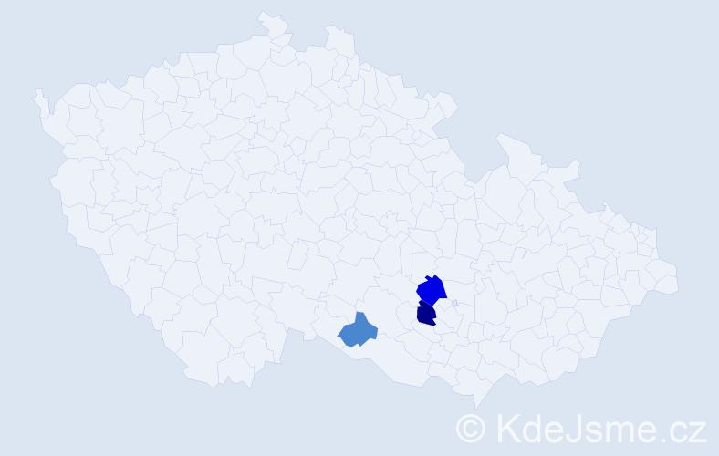 Příjmení: 'Čepčárová', počet výskytů 5 v celé ČR