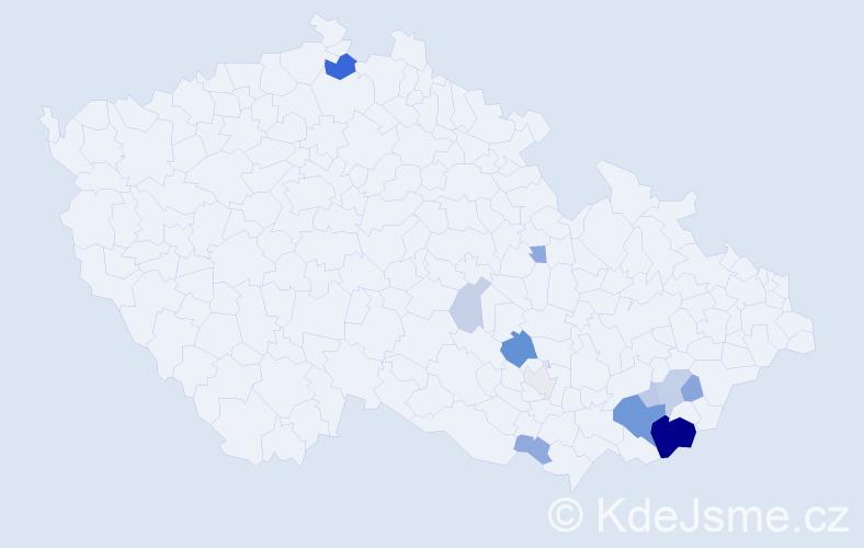 Příjmení: 'Baná', počet výskytů 36 v celé ČR