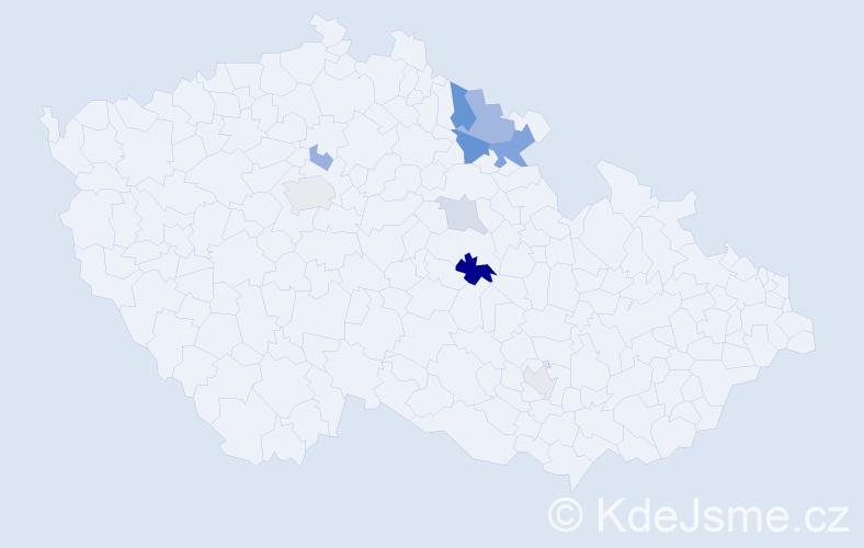 Příjmení: 'Doubal', počet výskytů 18 v celé ČR