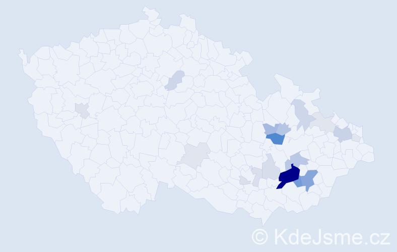 Příjmení: 'Koutňáková', počet výskytů 59 v celé ČR