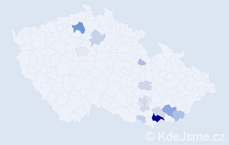 Příjmení: 'Balaštík', počet výskytů 88 v celé ČR