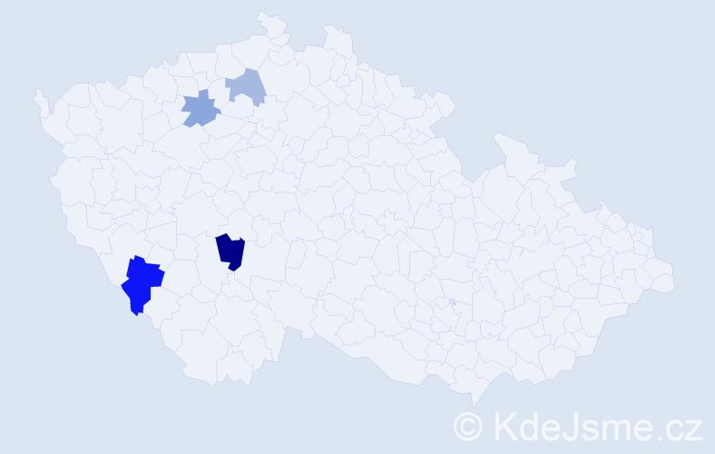 Příjmení: 'Kmen', počet výskytů 6 v celé ČR