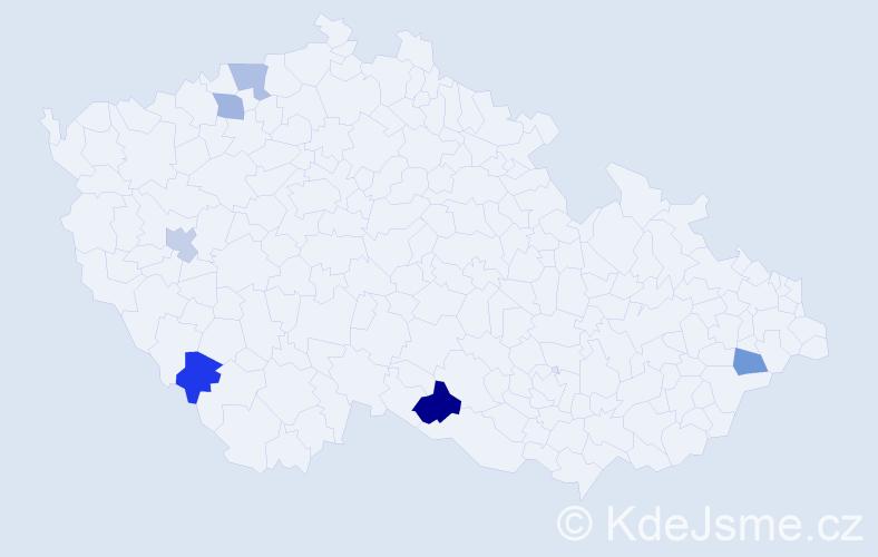 Příjmení: 'Cébová', počet výskytů 7 v celé ČR