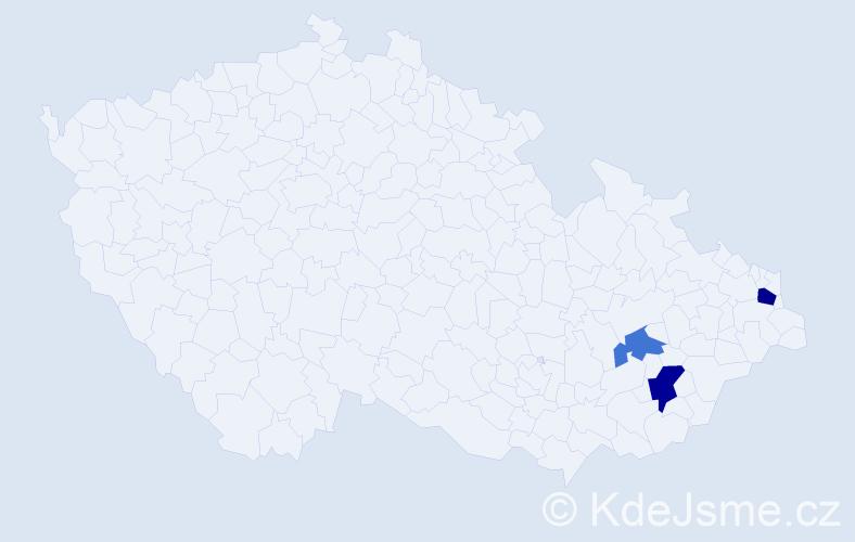 Příjmení: 'Jangot', počet výskytů 5 v celé ČR