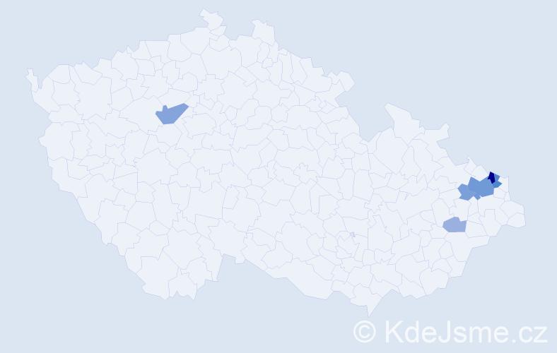 Příjmení: 'Andlová', počet výskytů 21 v celé ČR
