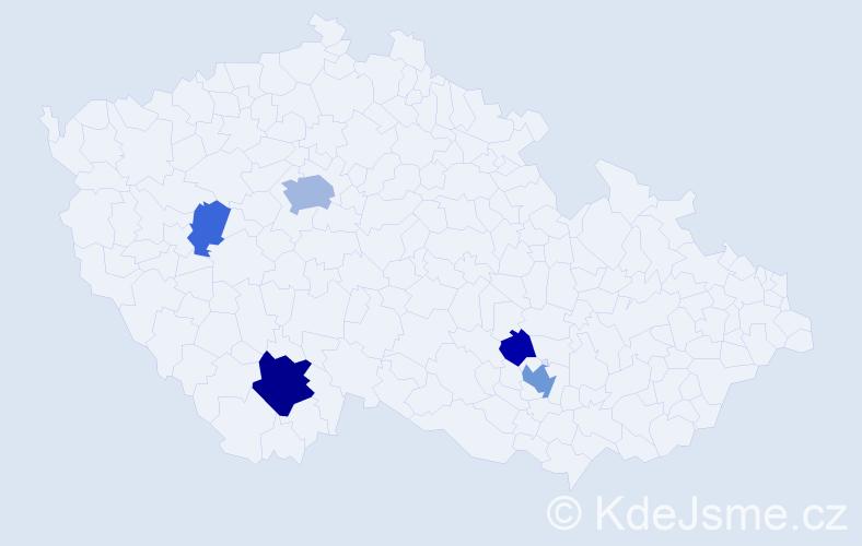 Příjmení: 'Dillinger', počet výskytů 13 v celé ČR