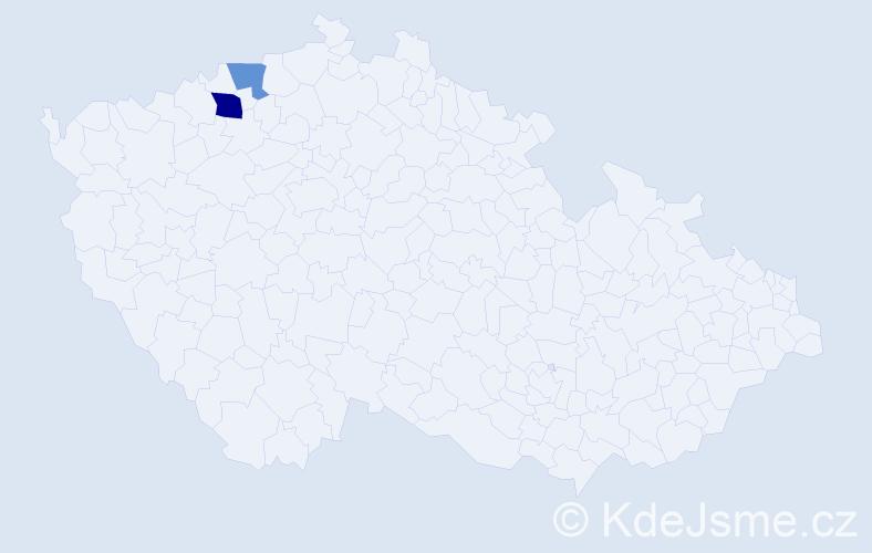 Příjmení: 'Gudzová', počet výskytů 3 v celé ČR