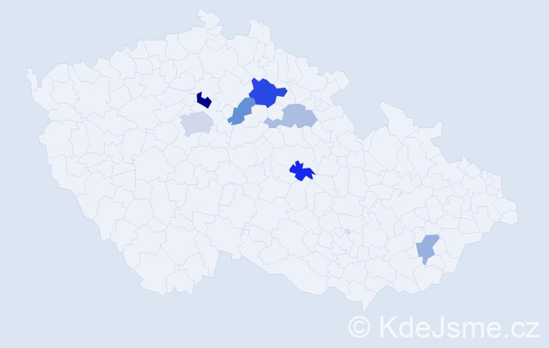 Příjmení: 'Endrys', počet výskytů 11 v celé ČR