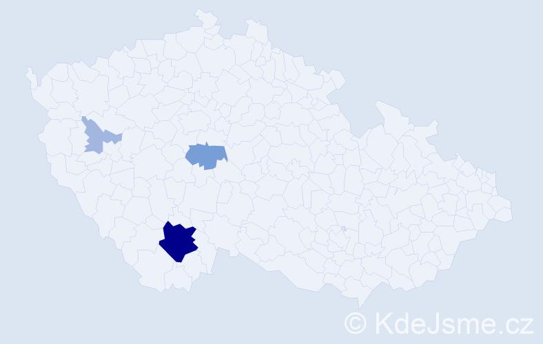 Příjmení: 'Interholcová', počet výskytů 16 v celé ČR