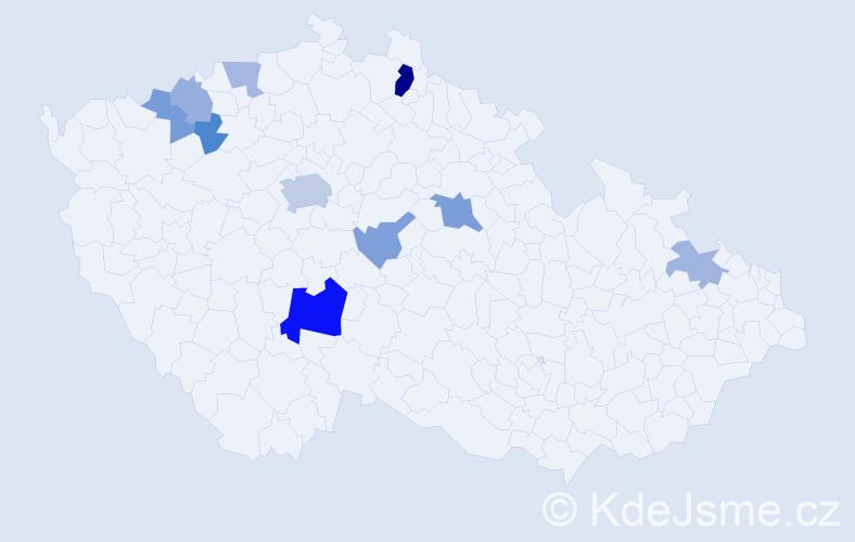 Příjmení: 'Killian', počet výskytů 21 v celé ČR