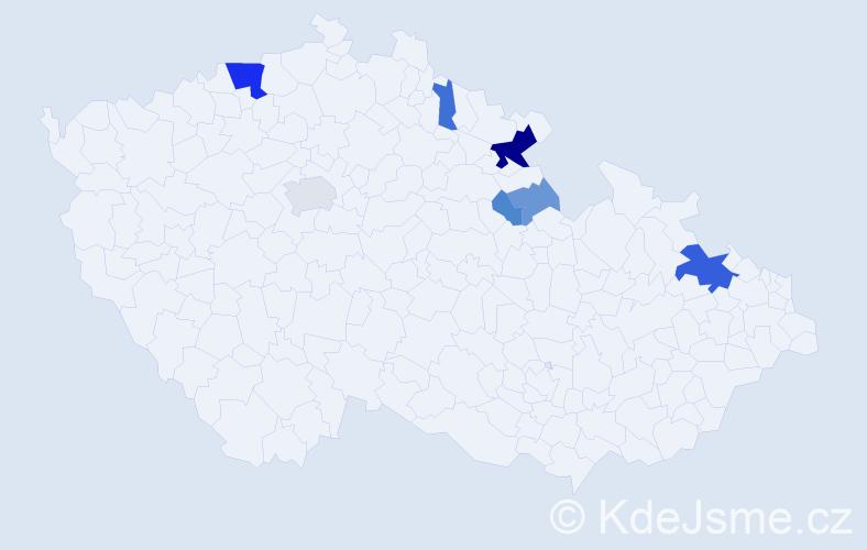 Příjmení: 'Fáborský', počet výskytů 19 v celé ČR