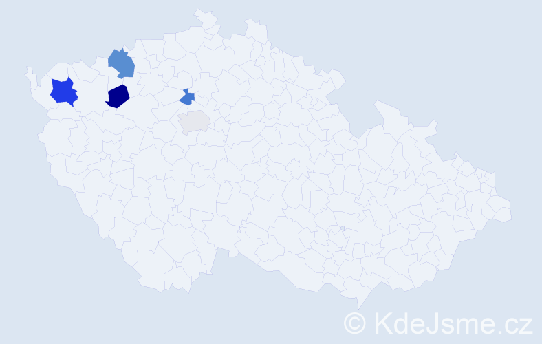 Příjmení: 'Černáčová', počet výskytů 8 v celé ČR
