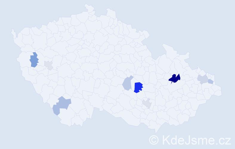 Příjmení: 'Illeková', počet výskytů 19 v celé ČR