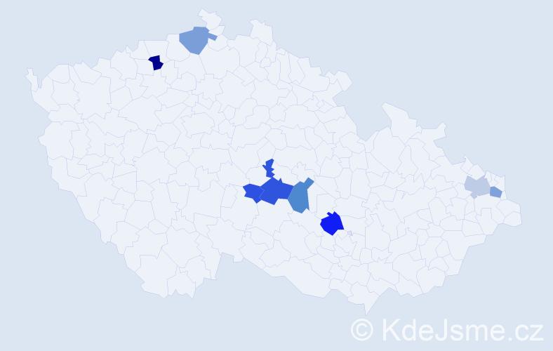 Příjmení: 'Hrabošová', počet výskytů 16 v celé ČR