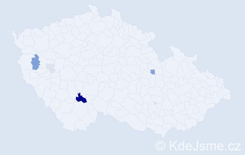 Příjmení: 'Augustiňáková', počet výskytů 6 v celé ČR