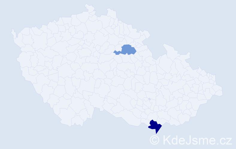 Příjmení: 'Bartaušic', počet výskytů 8 v celé ČR