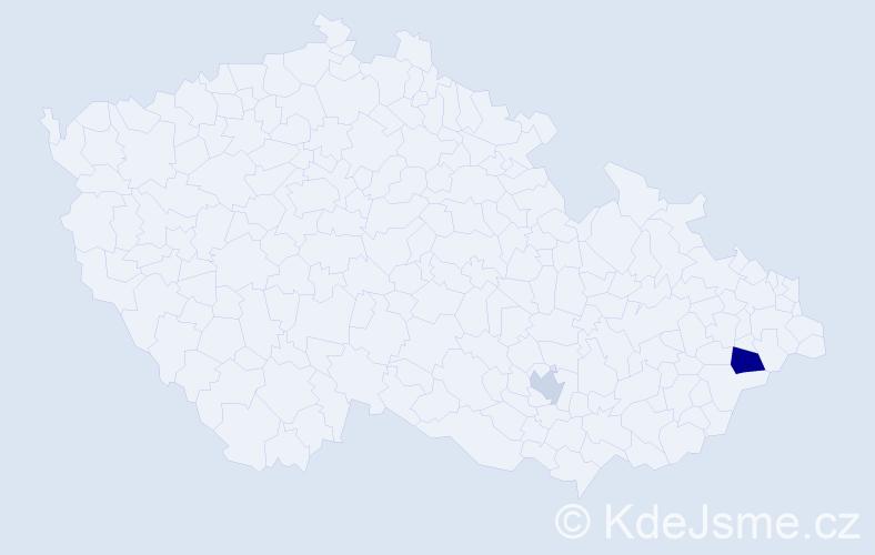 """Příjmení: '""""Castro Martinez""""', počet výskytů 3 v celé ČR"""