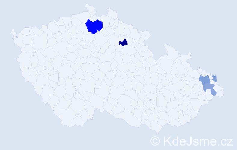 Příjmení: 'Eštočáková', počet výskytů 9 v celé ČR