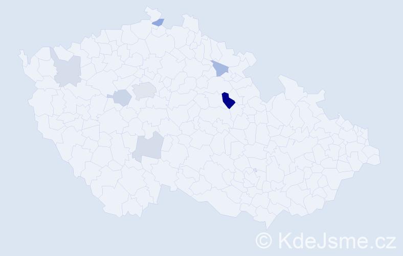 Příjmení: 'Kočmíd', počet výskytů 14 v celé ČR