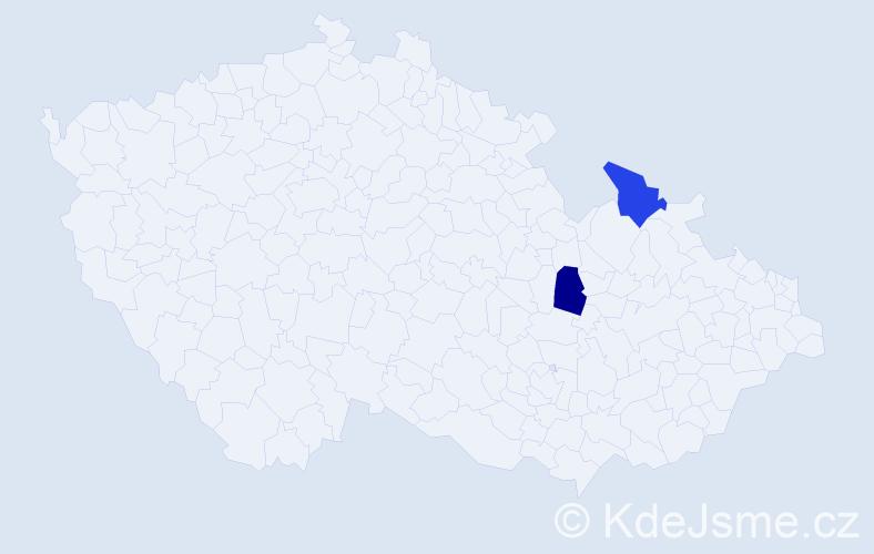 Příjmení: 'Jendryštíková', počet výskytů 2 v celé ČR